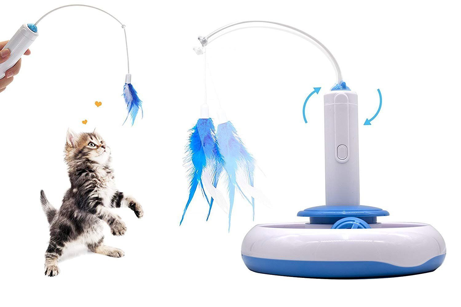Petony Cat Feather Toys Interactive Cat Electronic Toys Puzzle Cat Toys with a Ball and Two Feathers
