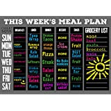"""Chart and Soul Magnetic Meal Planning Calendar and Grocery List Chalkboard - Large 16"""" x 12"""" Erasable Decal for Home, Kitchen, Dorm, and Office - Removable Weekly Prep Menu"""