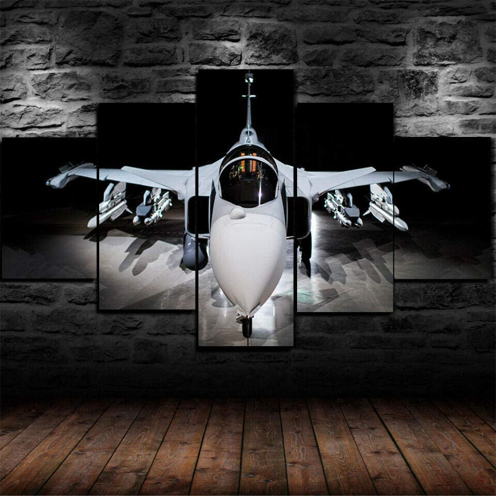 Luck7 Saab JAS 39 Gripen Jet Fighter Poster 5 Piece Canvas Print Wall Art Decor Framed Canvas Paintings Ready to Hang for Home Decorations Wall Decor-150x80cm