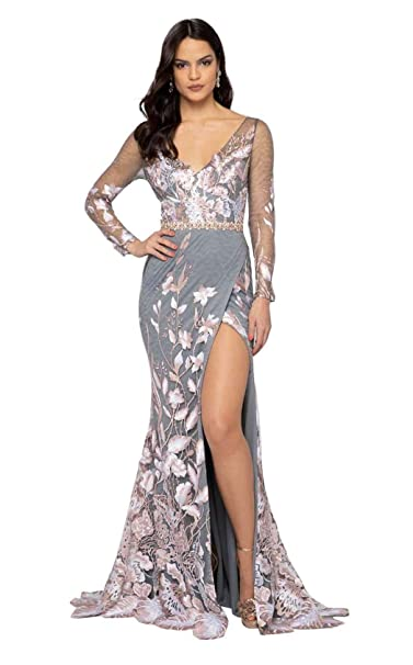 1e8e128d0f5 Terani Couture - 1912E9159 Floral Applique V-Neck Trumpet Dress at Amazon  Women s Clothing store