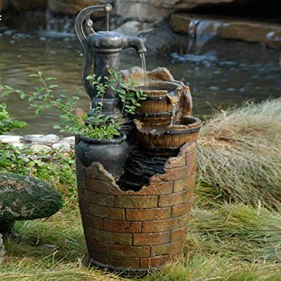 Glenville Water Pump Cascading Water Fountain - Durable polyresin & fiberglass construction Pump included Electric power - patio, fountains, outdoor-decor - 61 5sCJDtXL. SS400  -
