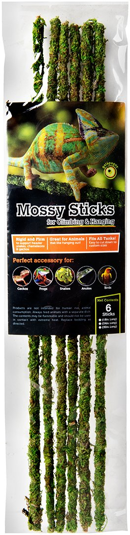 6-Pack Galapagos Mossy Terrarium Sticks 18-Inch