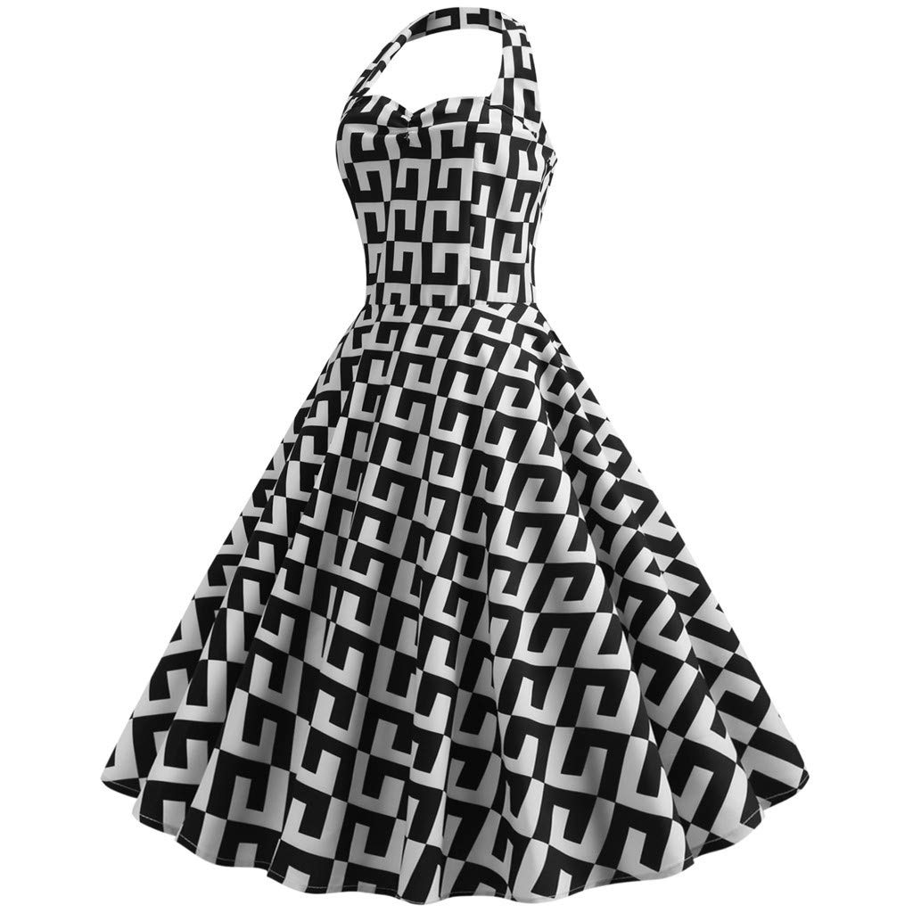 Women Vintage Polka Halter Geometric Print Sping Retro Rockabilly Cocktail Dress Black