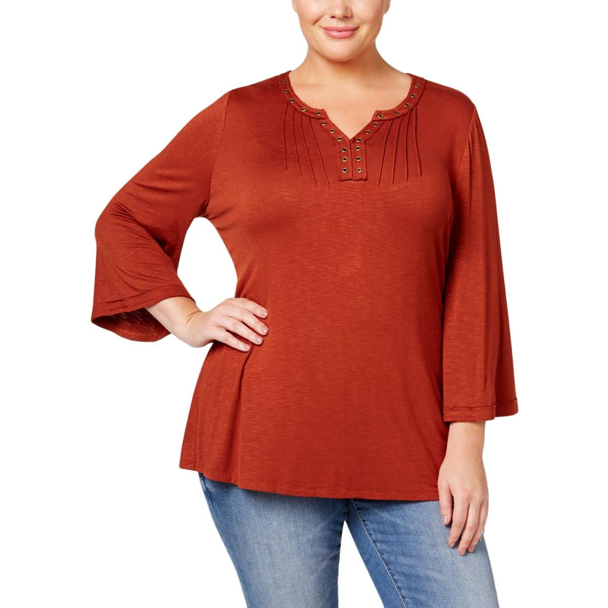 Style & Co.. Womens Plus Embellished Bell Sleeves Tunic Top Orange 3X