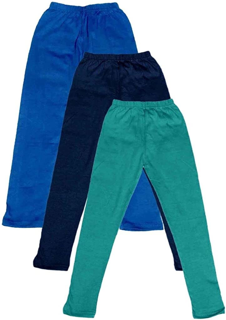 Pack of 3 -Multiple Colors-4-5 Years Indistar Little Girls Cotton Full Ankle Length Solid Leggings