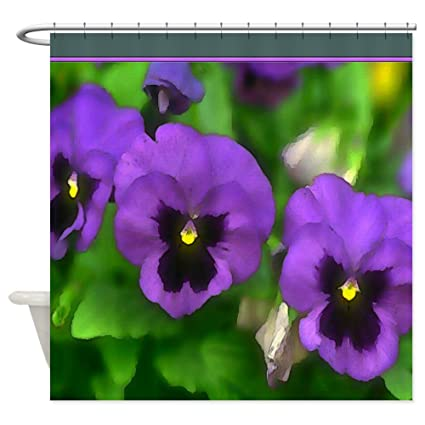 Amazon CafePress Purple Pansy Faces Shower Curtain