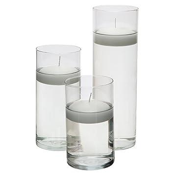 Royal Imports Jarrón de cilindro de vidrio con eje central decorativo para boda o hogar Juego de 3 velas incluidas Claro: Amazon.es: Hogar