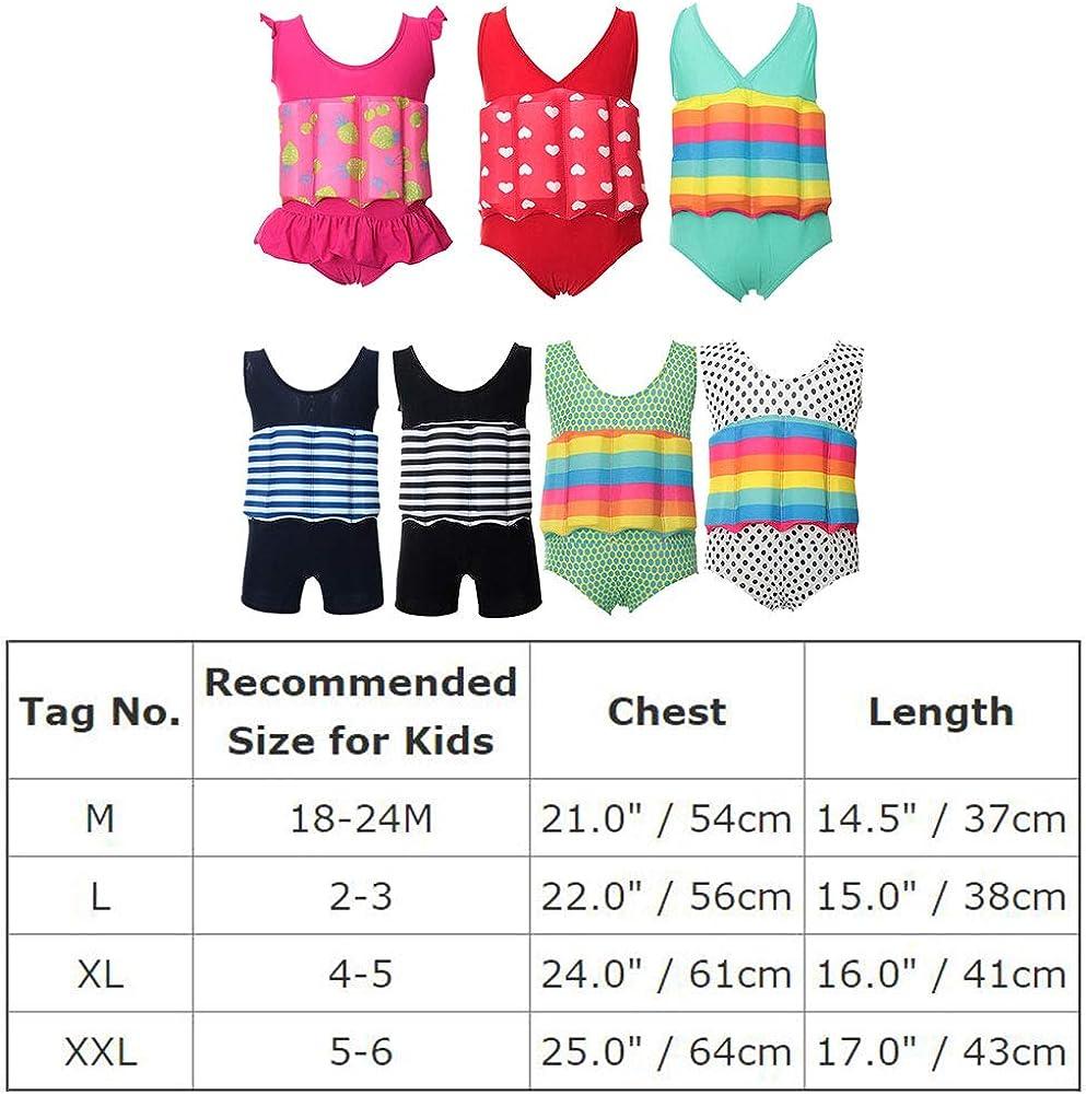 OBEEII Costume da Bagno per Bambini Neonati con Galleggiante Regolabile Vestiti da Bagno Galleggianti per Ragazze