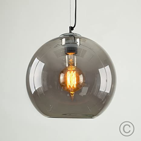 Moderno Negro/Bola de cristal ahumado lámpara de techo ...