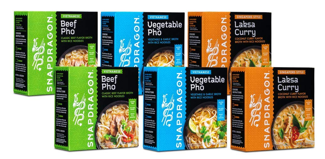 Snapdragon Noodle Soup Bowl Sampler Pack | Vegetable Pho, Beef Pho, Laksa Curry Instant Noodles | Authentic Flavors | Gluten-Free | No MSG Added | 2.1oz (Pack of 6)