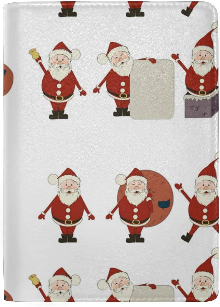 Lively And Passionate Santa Claus Leather Passport Holder Cover Case Blocking Travel Wallet