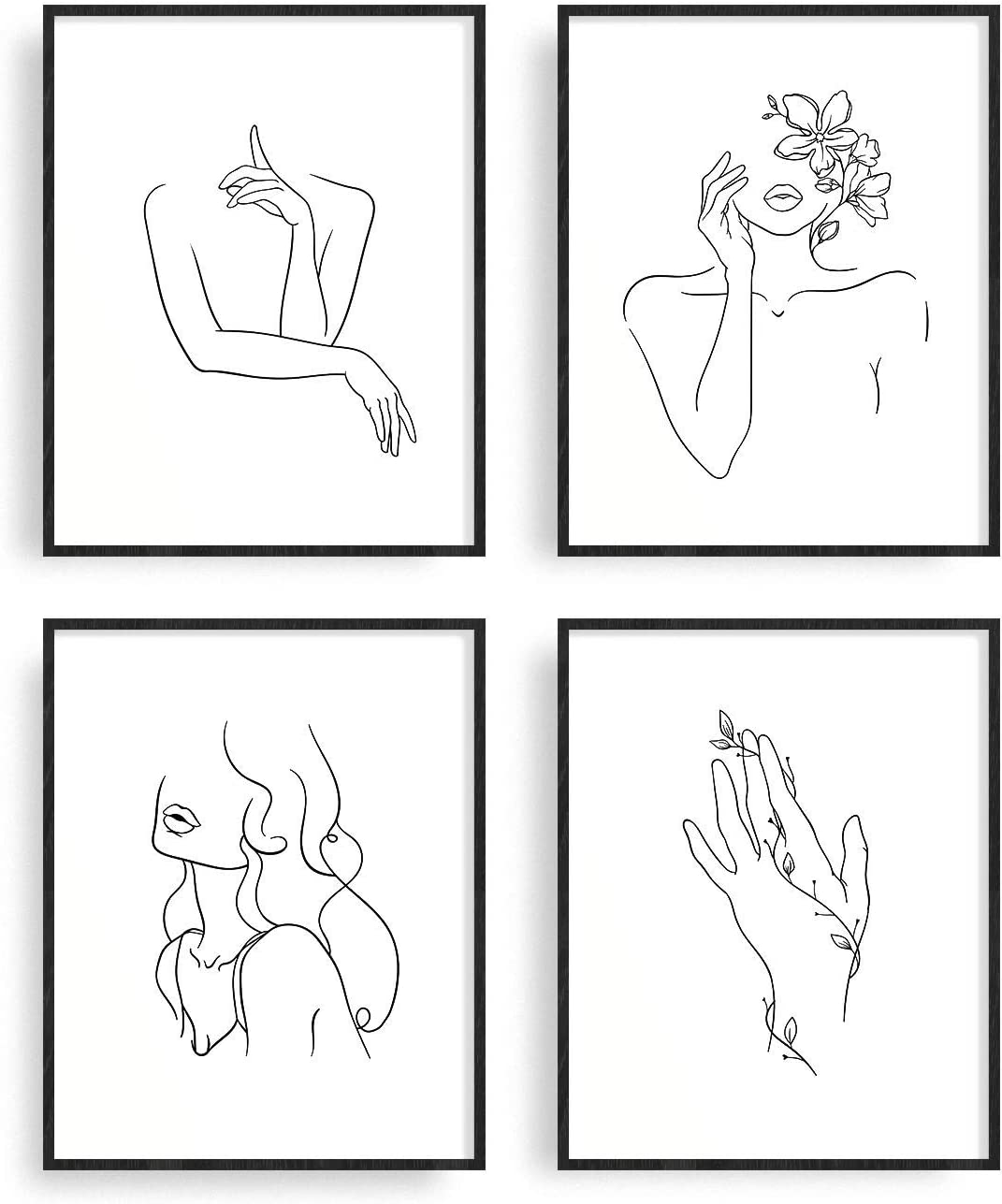 "Minimalist Line Art Prints Set of 4 By Carefree Bee | Aesthetic Art Posters | Wall Art Minimalist Painting | Minimal Wall Art | Drawing Poster | Black/White Prints | Unframed | 8"" x 10"" 
