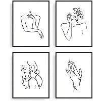 "Minimalist Line Art Prints Set of 4 By Carefree Bee | Aesthetic Art Posters | Wall Art Minimalist Painting | Minimal Wall Art | Drawing Poster | Black/White Prints | Unframed | 8"" x 10"" | (Minimalist)"