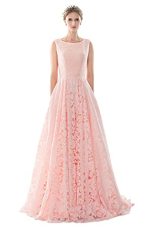 Ivydressing A-line Scoop Lace Sweet Prom Dress Wedding Party Guest Gown Formal-2