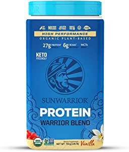 Sunwarrior Organic Vegan Protein Powder with BCAAs and Pea Protein (Warrior Blend - Vanilla, 30 Servings)