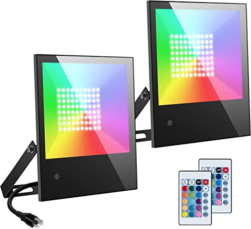 RGB LED Flood Lights Outdoor,Color ChangingLed Stage Landscape Lighting,RGB Floodlights with Remote Indoor,16 RGB Colors,Dimmable,IP66 Waterproof,Wall Washer Light for Party, Garden 2 Pack