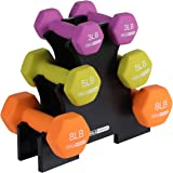 HolaHatha 3Lb, 5Lb & 8Lb Hex Dumbbell Set with Rack Stand, Ideal Strength Weight Training for Ladies, Women's Weights Perfect