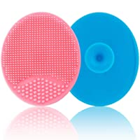 Baby Bath Brush, Baby Cradle Cap Brush, Silicone Massage Brush, Silicone Scrubbers Exfoliator Brush   The SkinSoother Baby Essential for Dry Skin, Cradle Cap and Eczema - 2 Pack (Blue & Pink)