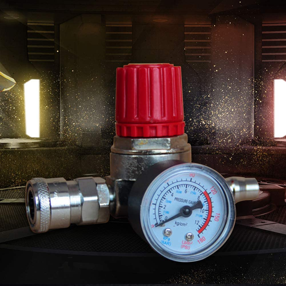 Druckminderer mit Manometer f/ür Luftverdichter Luftdruck einstellbar Luftkompressor Yiran Zink Alloy Druckregler des Luftkompressors