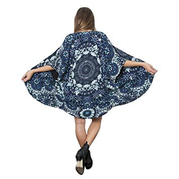 8541fcbd0 Image Unavailable. Image not available for. Color: FUA Women Mandala Print  Kimono Loose Cardigan Chiffon ...
