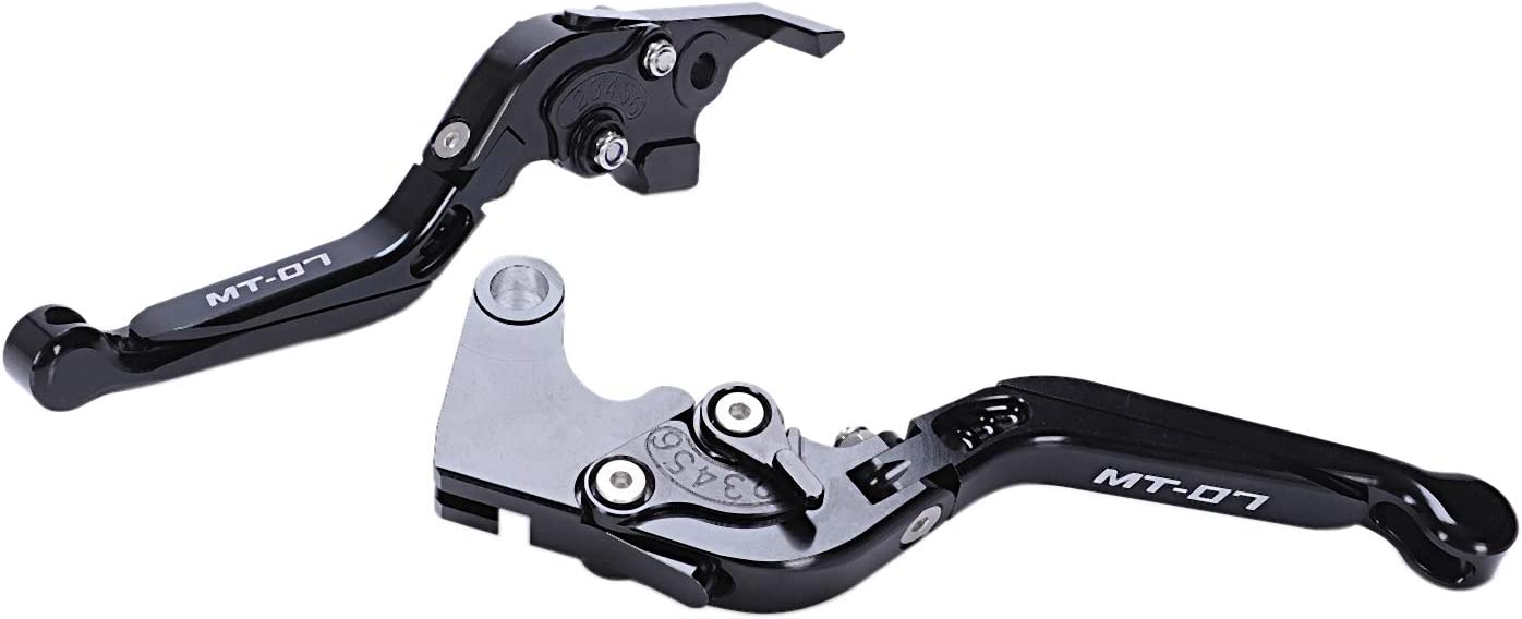 Nrpfell Motorrad Zubeh?r Aluminium CNC Faltbare Erweiterbare Brems Kupplungs Hebel f/ür Mt-07 Mt 07 Fz-07 Fz 07 2014-2018 Schwarz