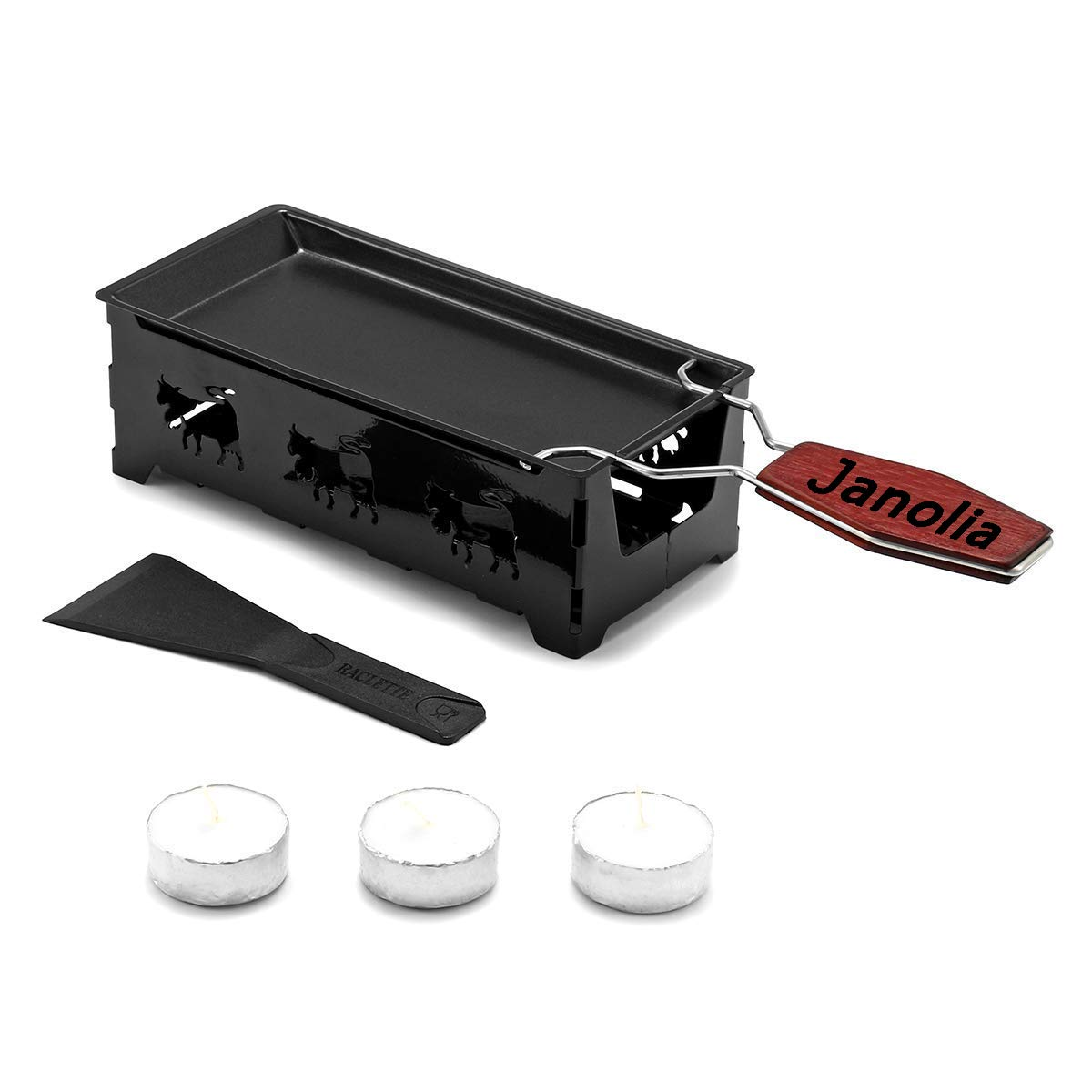 Janolia Non-Stick Raclette Grill Set, Mini Cheese Melting Pan with Foldable Wooden Handle, Cheese Spatula, Heated by Candlelight by Janolia