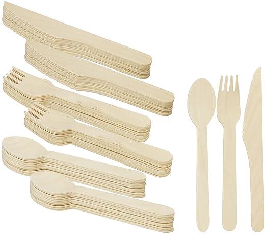 COM-FOUR® 72 Piezas cubiertos desechables consisten en cuchara ...