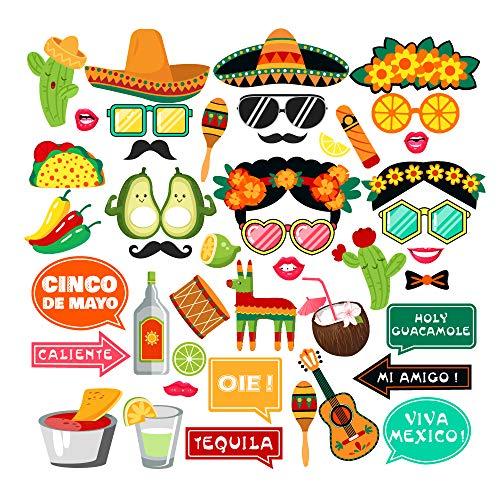 Cinco De Mayo Props - Mexican Fiesta Party Supplies Photo Booth