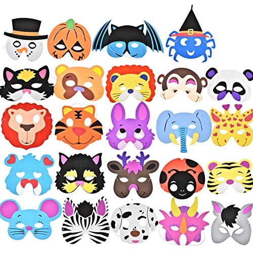 Joyin Toy 24 Pieces Assorted Foam Animal Masks for Birthday Party Favors Dress-Up (Halloween Party Idea Games)