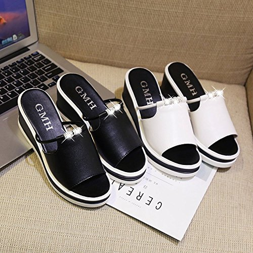 and Bottom Slippers White New Lady's XKNSLX Soft Casual Decoration Casual Slope q0T1fIw