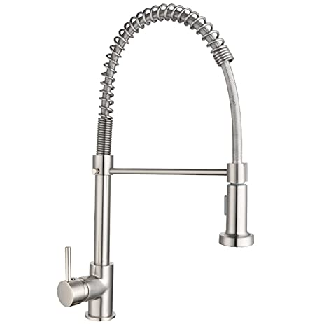 High Pressure One Handle Pre Rinse Kitchen Faucet With Dual Function Spray  Head Stainless