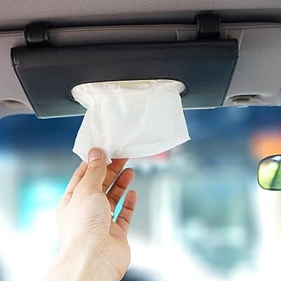 LOCEN Car Sun Visor Tissue Case Napkin Holder Clip Black: Automotive