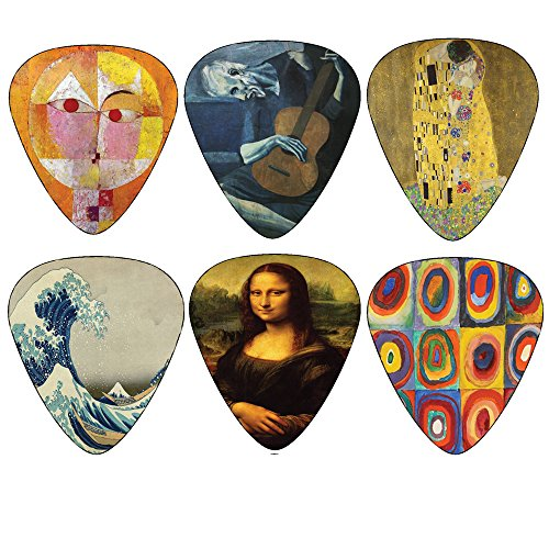 Creanoso Famous Guitar Picks (12-Pack)- Guitar Accessories for Acoustic, Electric and Bass Guitars - Picasso, Gustav Klimt, Katsushika Hokusai, Paul Klee, Vassily Kandinsky, Leonardo da Vinci Painting (Guitar Pick Kiss)