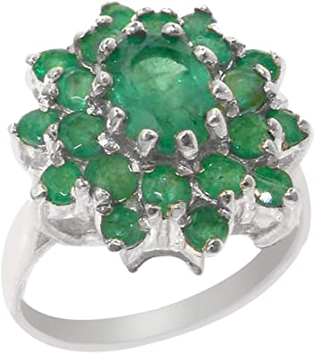 Emerald ring real emeralds set in Sterling silver jewellery company