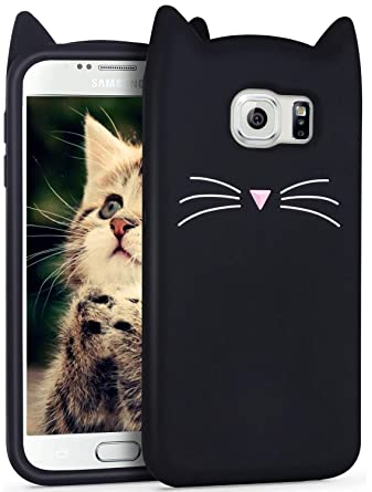 the latest 5b567 b69dc Leosimp Black Cat Case for Samsung Galaxy S6 edge,Cute 3D Cartoon Animal  Cover,Kids Girls Soft Cool Silicone Gel Rubber Kawaii Character Fashion ...