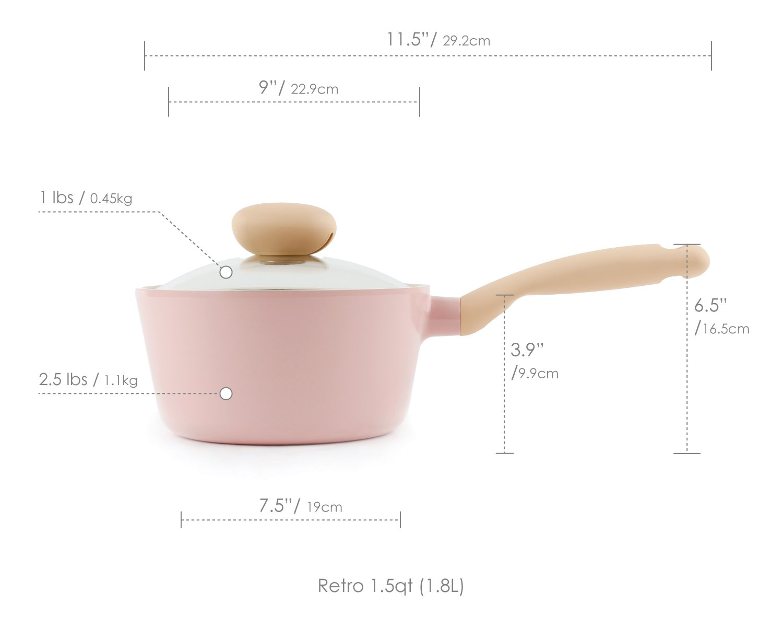 Pink Neoflam Retro 1.5QT Ceramic Nonstick Saucepan w//Glass Lid