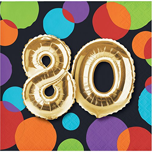 Beverage Birthday Party Napkins Balloons - Balloon 80th Birthday Beverage Napkins, 48 ct