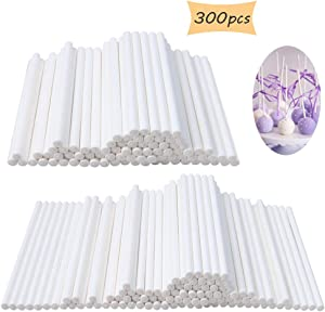 300 Count White 4 Inch Lollipop Sticks,Sucker Stick for Cake Pops,Cookies,Candy,Chocolate,Party