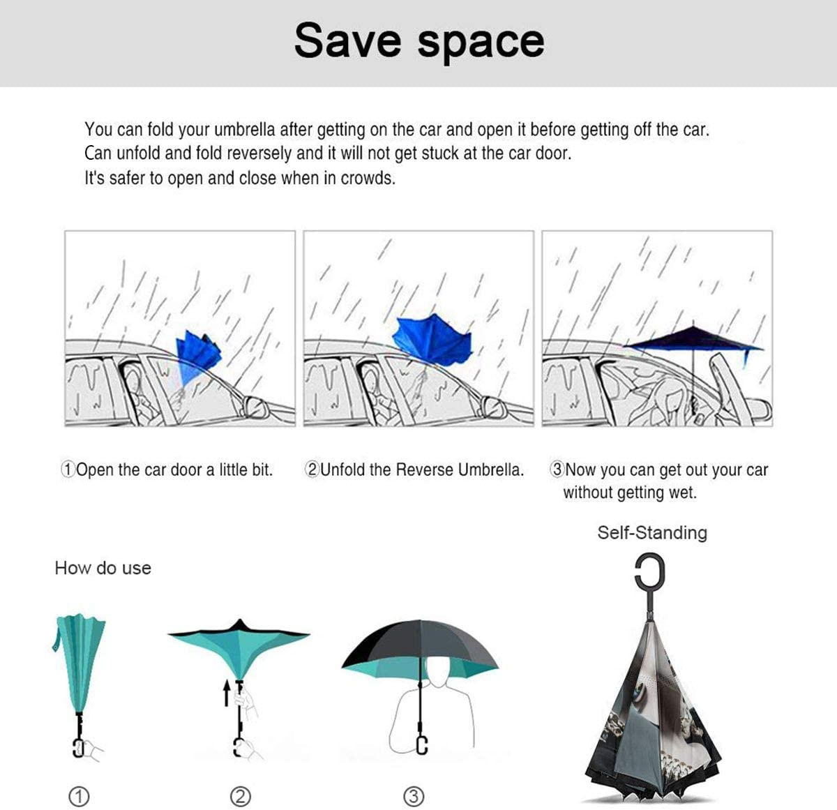 Windproof And Rainproof Double Folding Inverted Umbrella With C-Shaped Handle UV Protection Inverted Folding Umbrellas Maleficent Car Reverse Umbrella