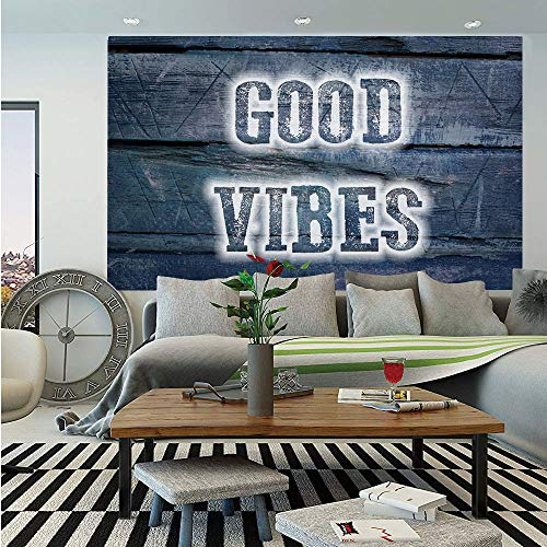 SoSung Good Vibes Wall Mural,Inspiration Quote on Wooden Planks with Grunge Scratched Display Relaxation Decorative,Self-Adhesive Large Wallpaper for Home Decor 55x78 inches,Dark Blue White