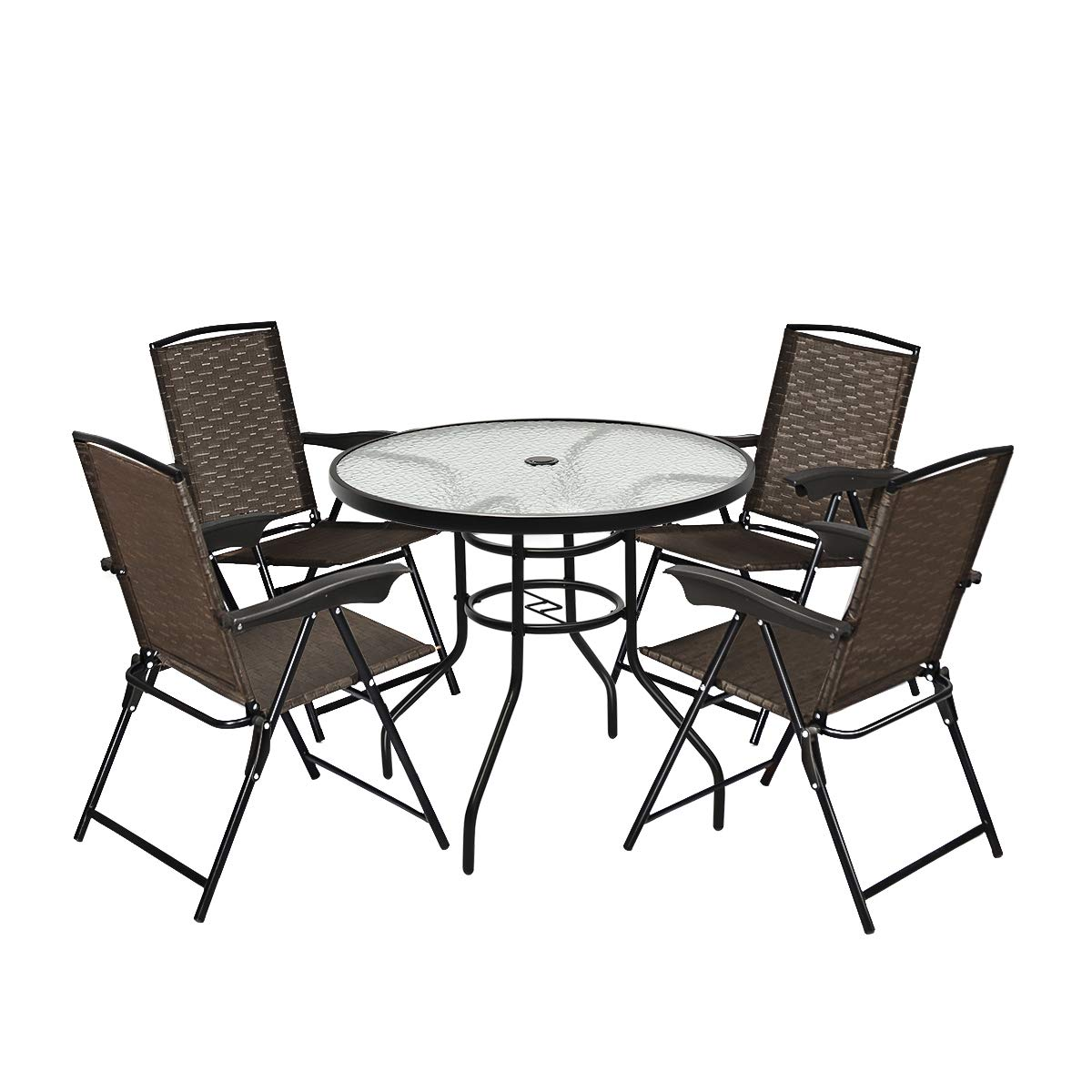 Goplus 5-Piece Bistro Set Outdoor Patio Furniture Weather Resistant Garden Round Table and 4 Folding Sling Chairs 4 Sling Chairs Classic Table