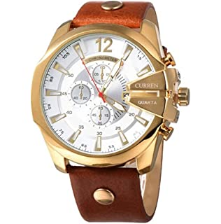 CURREN Original Mens Sports Waterproof Calendar Leather Strap Wrist Watch Good Quality 8176 Gold Brown