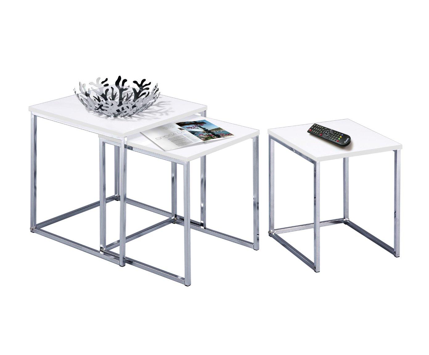 Esidra 9332-01 Set 3 Tavolini, Acciaio Cromato, Bianco, 40x40x42 cm Evergreen House