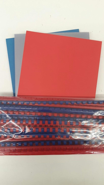DIN A4 Klarsichtfolie in blau und rot Starterset f/ür Plastikbindeger/ät Lederkarton Binder/ücken 120 Teile