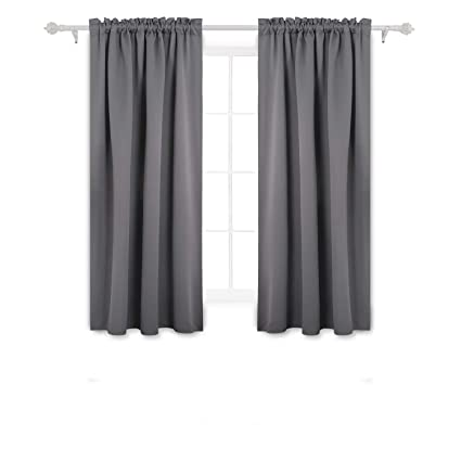 drapes for small windows tall wall deconovo gray blackout curtains rod pocket thermal outdoor small windows 42w 45l inch amazoncom