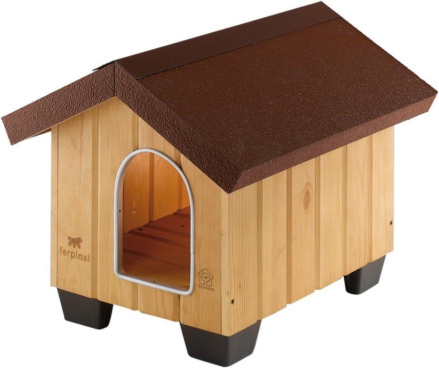 Feplast 87000000 Caseta de Exterior para Perros Domus Mini, Robusta Madera Ecosostenible, Pies de Plástico, Puerta con Revestimiento Resistente A Las Mordeduras, 50 x 65 x 47.5 Cm