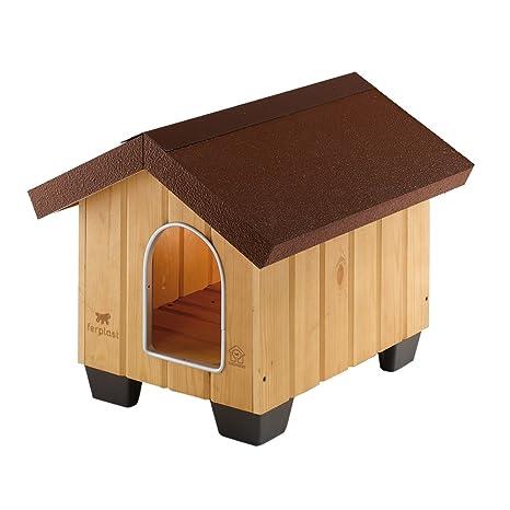 Feplast 87000000 Caseta de Exterior para Perros Domus Mini, Robusta Madera Ecosostenible, Pies de