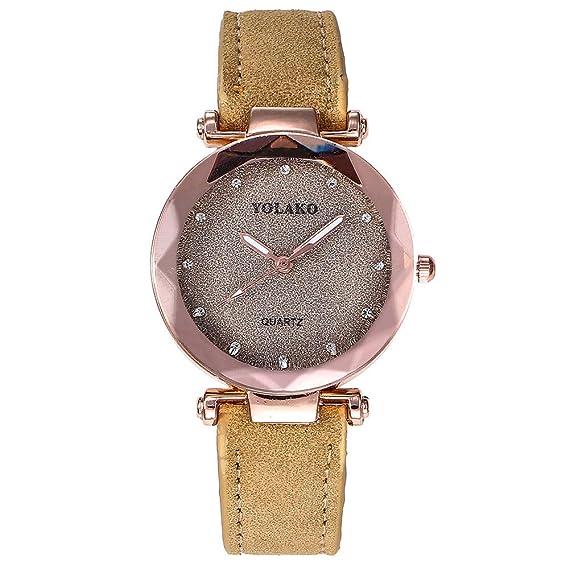 Yusealia Relojes Pulsera Mujer Despeje, Casual Reloj Banda de Cuero Dama Relojes para Negocio Relijes de Espejo de Vidrio de Alta Dureza: Amazon.es: Relojes