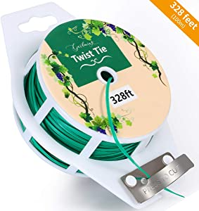 Aixialin 328 Feet Multipurpose Twist Ties, Green Garden Plant Ties with Cutter, Durable Wire Ties for Gardening, Office Organization and Home Decoration