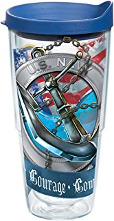 Tervis 1167256 Nautical Anchors Tumbler with Wrap and Brown Lid 24oz Clear